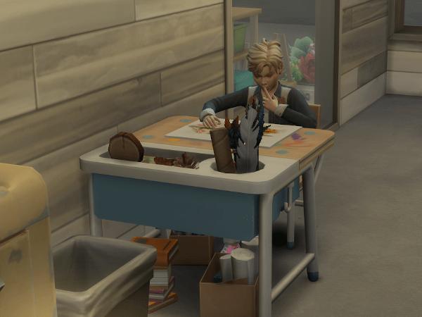 Sim child at the art station