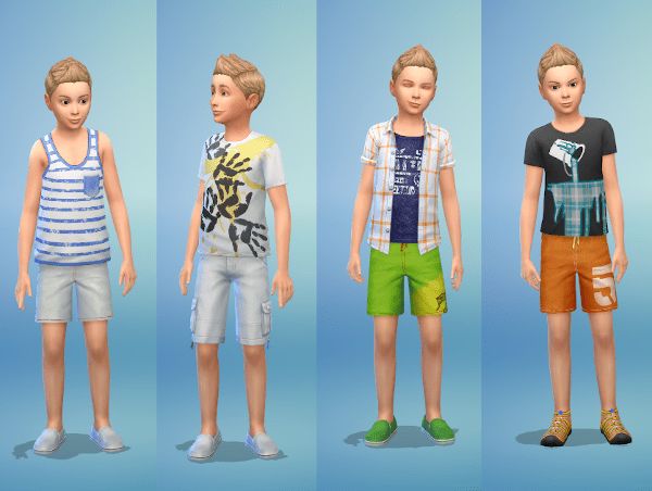 Sims 4 boy child hot weather fashion outfits