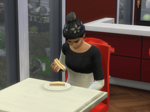 Sims 4 eating a ham and cheese sandwich at the gym