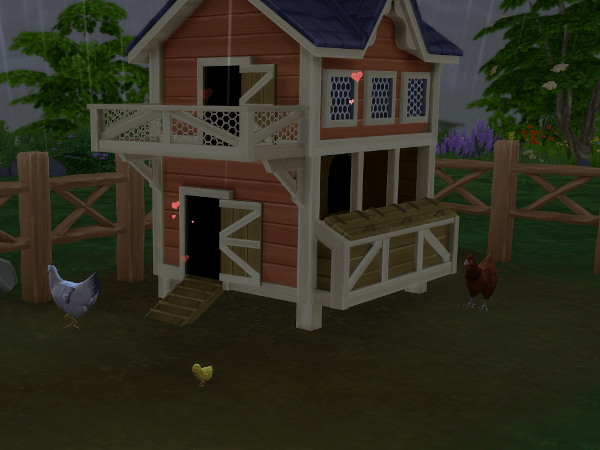 Sims 4 Country Living chicken coop with baby chick
