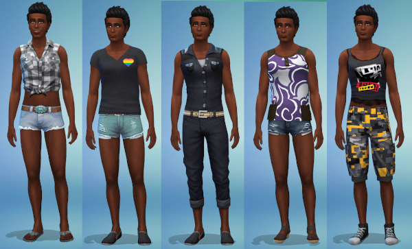 Sims 4 gender fluid hot weather outfits