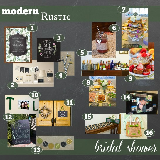 modern rustic bridal shower