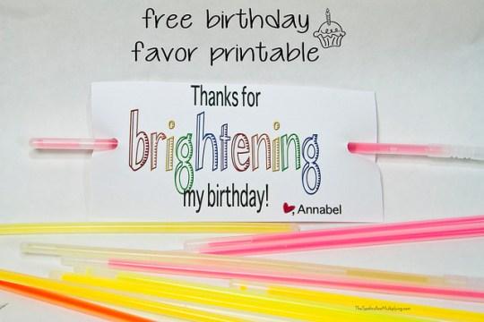 birthday favor printable