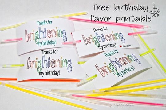 free birthday favor printable