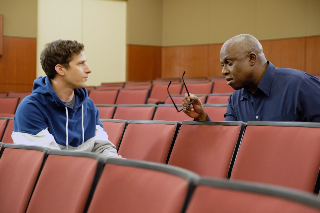 BROOKLYN NINE The Bimbo Episode 613 Pictured L R Andy Samberg As Jake Peralta Andre Braugher Ray Holt Photo By