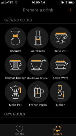 Filtru walks you through the steps for each brew method.