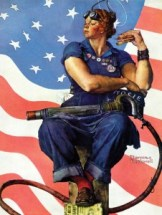 Norman Rockwell's homage to women contributing to the war effort (WWII) by working in factories.
