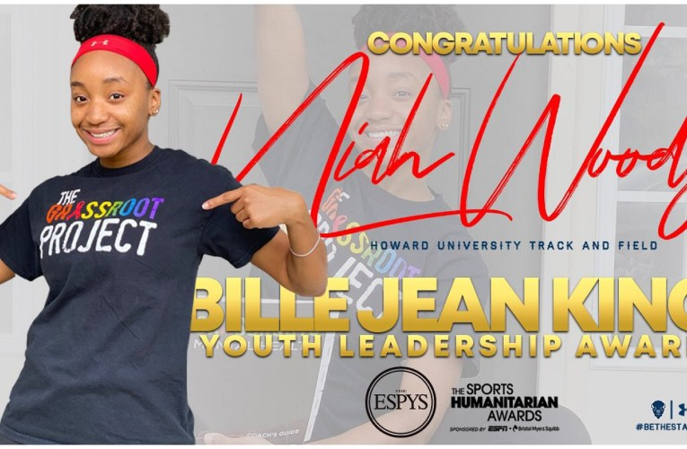 Howard's Woods wins 2020 Billie Jean King Youth Leadership Award