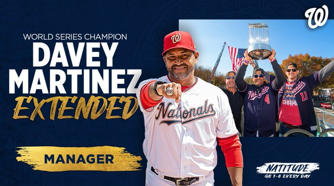 Nationals Extend Manager Dave Martinez to Multi-Year Extention