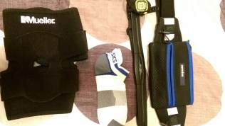 Kneed brace, running pack, Garmin HRM/watch