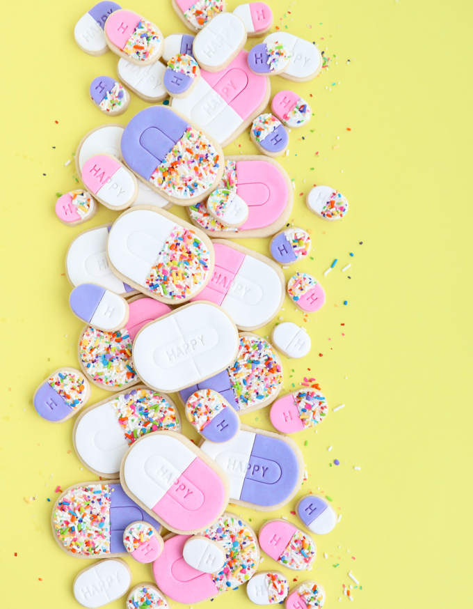 happy pill cookies with sprinkles