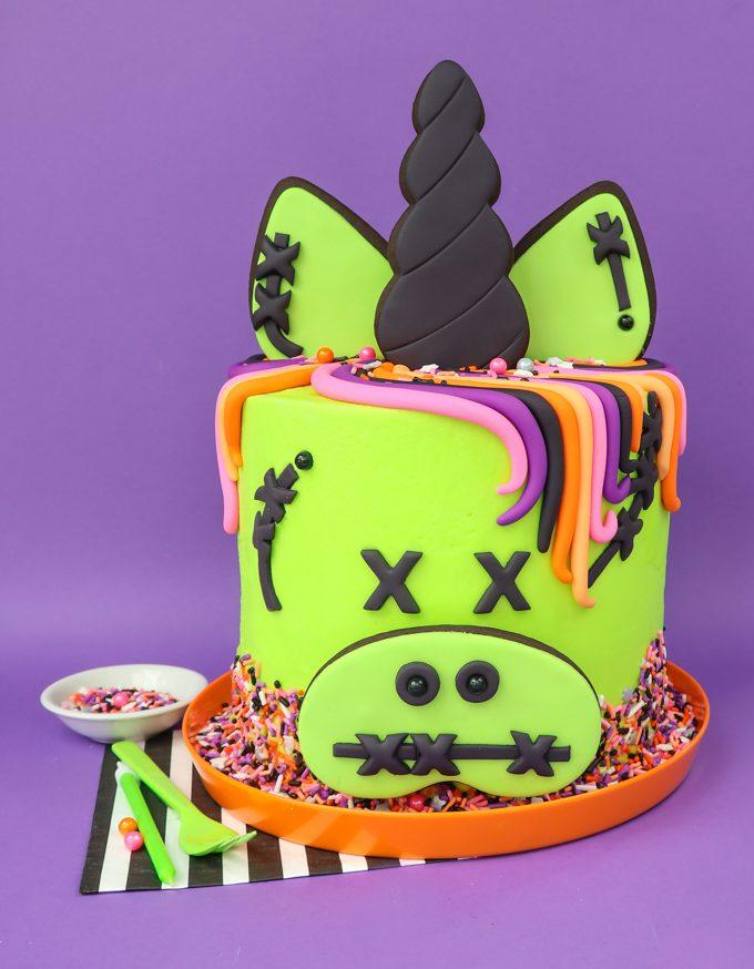 Zombie Unicorn Cake With Purple Backdrop