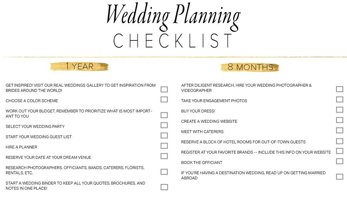 11 Free, Printable Wedding Planning Checklists