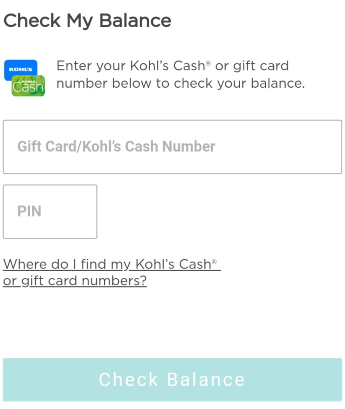 Kohl's Gift Card Balance Check - How To Check Kohl's Gift Card Balance