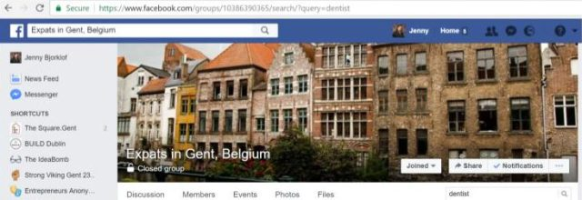 This is a picture of the Facebook group expats in Gent