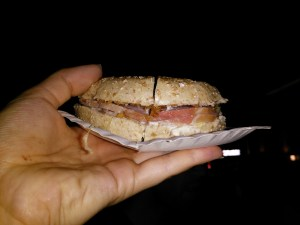 A tasty 'spitburger' is a classic Gentse Feesten snack to keep you dancing all night! © Jenny Bjorklof
