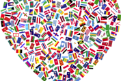 Image of heart filled with country flags - for international facebook groups in Ghent and Belgium