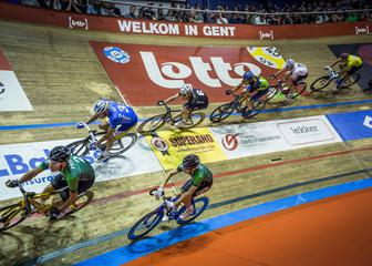 Cyclists at the Ghent velodrome