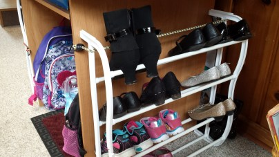 Rack for the girls' school shoes