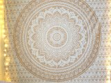 Gold Ombre Mandala Wandtuch Twin Baumwolle Tuch