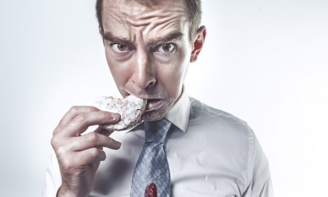 nervous man eating