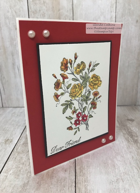 This card was watercolored with the Brusho Crystal Colours from Stampin' Up!  The Brusho Crystal Colours are a watercolor powder that reacts and dissolves with water.  Details www.thestampcamp.com #stampinup #brusho #thestampcamp #technique #watercolo