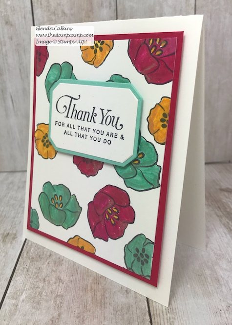 Using Shimmer Paint to color in your stamped images.  Supplies can be purchased on my blog: www.thestampcamp.com #stampinup #thestampcamp #glendasblog #shimmerpaint