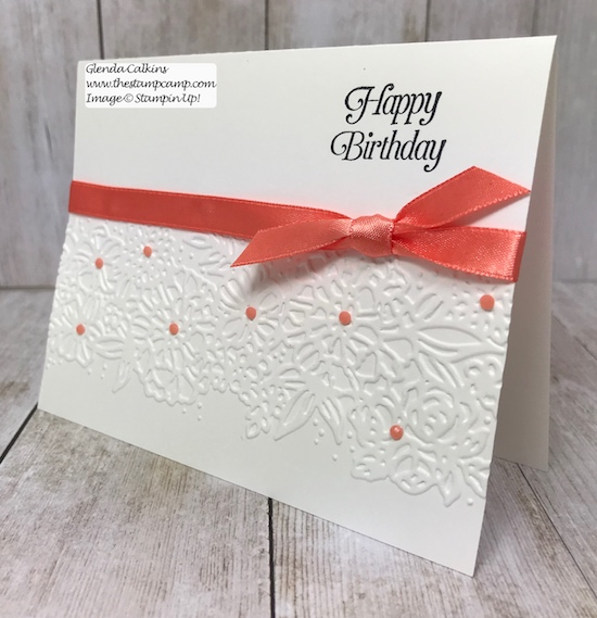Let the beauty of the Embossing Folders be the focal point to your cards.  Simply Simple stamping is all you need.  Details www.thestampcamp.com #stampinup #simplysimplestamping #thestampcamp #glendasblog