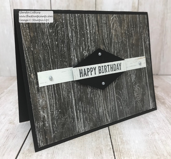 This is a fun technique created using the Frost White Shimmer Paint and the Pinewood Planks embossing folder.  Visit my blog for details: www.thestampcamp.com #stampinup #thestampcamp #masculine #techniques