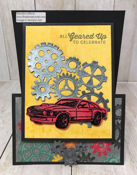 This is my featured stamp set for May Geared Up Garage. Each card is also a gift card holder; great for Father's Day or Birthday's. Details on my blog: www.thestampcamp.com #garagegear #stampinup #thestampcamp #masculine #giftcardholder
