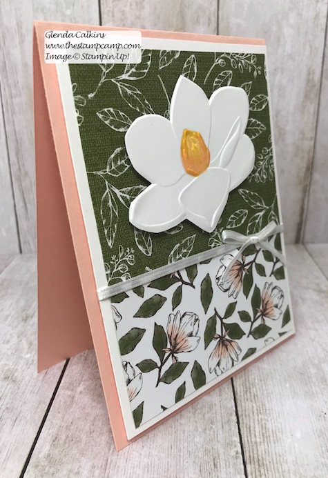 This is the Good Morning Magnolia stamp set from Stampin' Up! This beautiful flower can be colored in so many different ways. This was actually paper pieced using Designer Series Paper. See my Blog Here for details: https://wp.me/p59VWq-aav #stampinup #thestampcamp #magnolia #handmadecards #stamps #embossing