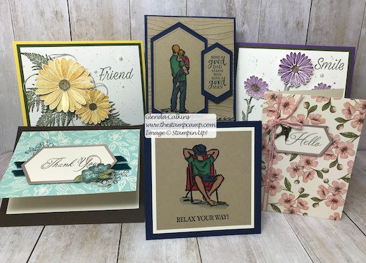 This is the bundle of cards I'm giving away this week. Were you the lucky recipient? Each week I'm giving away 6 cards 1 for each blog posting for the week. DETAILS HERE: https://wp.me/p59VWq-a8f #stampinup #cards #thestampcamp #giveaway