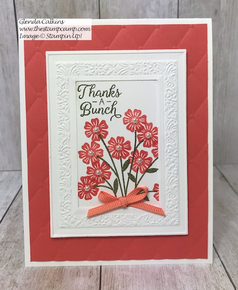 This is the Beautiful Bouquet stamp set from Stampin' Up! with the Heirloom Dies and Embossing Folder. Details on my blog here: https://wp.me/p59VWq-ahi #stampinup #beautifulbouquet #bouquet #flowers #embossing