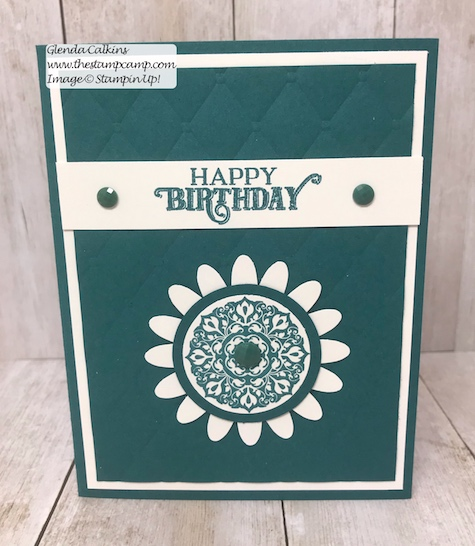 This was created from the July Paper Pumpkin On My Mind kit.  The kit has all the supplies to create 9 cards; you will make 3 of each design and there are 3 different designs.  Visit my blog post here for details: https://wp.me/p59VWq-agw #stampinup #paperpumpkin #thestampcamp #cardkit