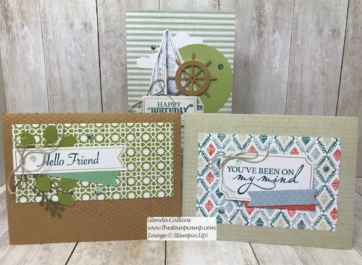 This is the July Paper Pumpkin On My Mind kit. This kit has all the supplies to create 9 cards; you will make 3 of each design and there are 3 different designs. Visit my blog post here for details: https://wp.me/p59VWq-ag1 #stampinup #paperpumpkin #thestampcamp #cardkit