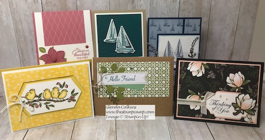 These are the cards going out in the mail today to a lucky subscriber and customer of my blog. Details are here: https://wp.me/p59VWq-agq #stampinup #thestampcamp #cards #giveaway #stamps