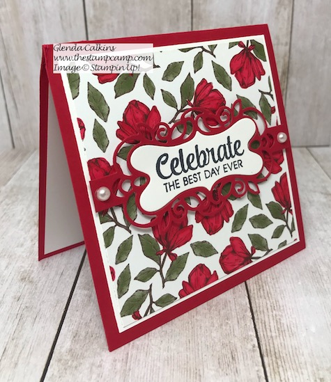Isn't this printed paper gorgeous? It is from Stampin' Up! and believe it or not it is the Magnolia Lane Designer Series Paper. Details on my blog Here: https://wp.me/p59VWq-als #stampinup #magnolialane #thestampcamp #printedpaper