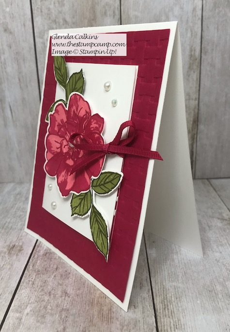 This beautiful card is more than just a card; it actually has a gift card holder on the front. This is my featured stamp set for August To A Wild Rose Bundle from Stampin' Up! Details and ordering options available on my blog here: https://wp.me/p59VWq-ak6 #stampinup #thestampcamp #toawildrose #giftcardholder