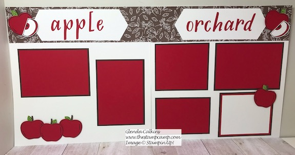 Harvest Hellos scrapbook pages for your Fall Apple Picking family photos. Details on my blog: https://wp.me/p59VWq-anH #stampinup #harvesthellos #thestampcamp #scrapbook