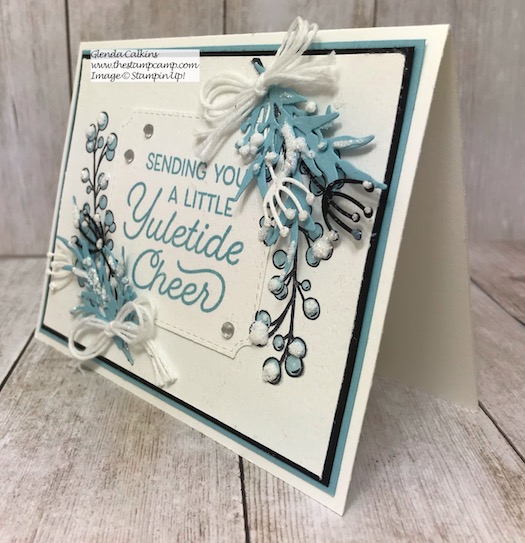 This is the Frosted Foliage Bundle from Stampin' UP! You can't see in the photo but it is sparkling. Details on my blog here: https://wp.me/p59VWq-asO #stampinup #thestampcamp #frostedfoliage #christmas