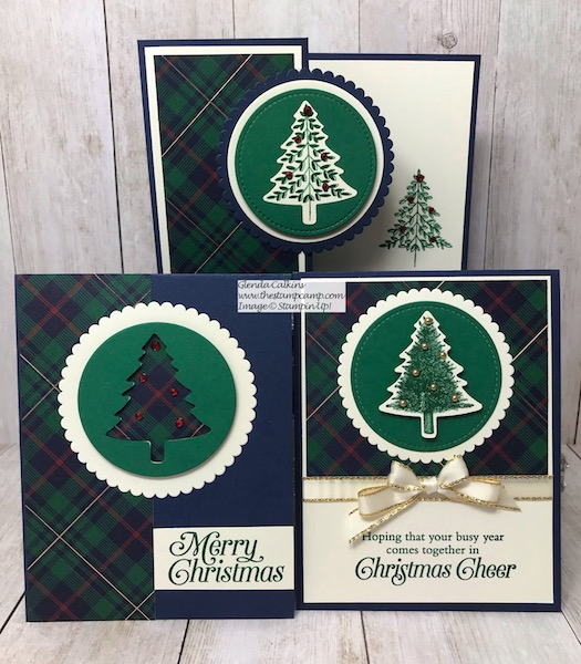 One sheet of the Wrapped in Plaid Designer Series Paper equals 3 cards. Details on my blog here: https://wp.me/p59VWq-asr #stampinup #perfectlyplaid #handmadecards