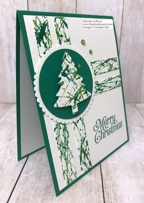 Perfectly Plaid Bundle was the perfect stamp set to go with Sophia's Mable background technique. Details on my blog here: https://wp.me/p59VWq-asA #stampinup #techniques #thestampcamp #Christmas