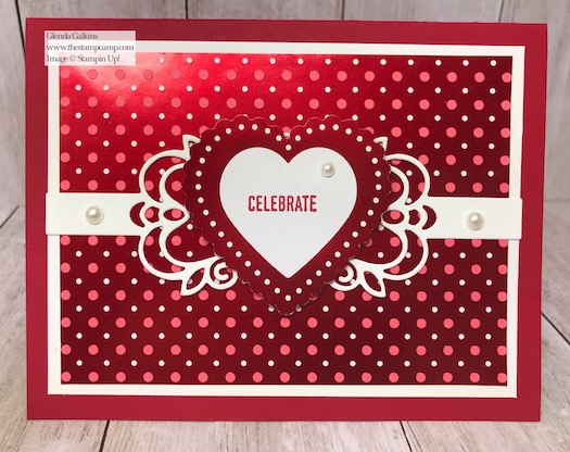 From My Heart Specialty Designer Series Paper One Sheet Wonder technique. Details on my blog here: https://wp.me/p59VWq-aIs #stampinup #heartfeltbundle #thestampcamp #hearts