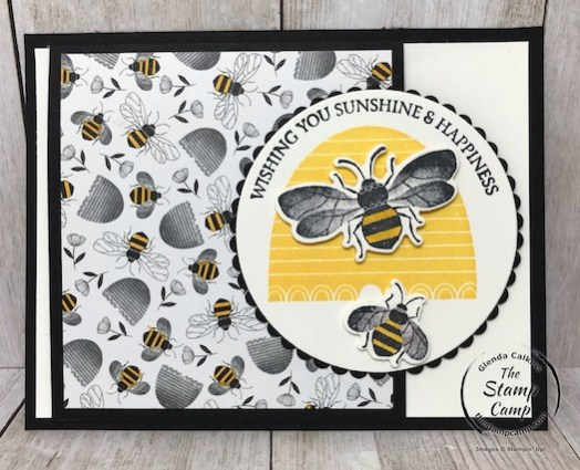 This is the Honey Bee Bundle and the Golden Honey Specialty Designer Series paper from Stampin' UP! Details on my blog here: https://wp.me/p59VWq-aKO #stampinup #thestampcamp #saleabration #honeybee
