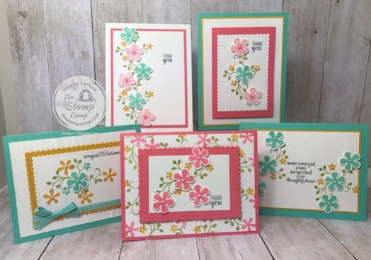 These cards were created using the FREE Sale-a-bration thoughtful Blooms and the Small Blooms Punch. Details can be found on my blog here: https://wp.me/p59VWq-aJH #stampinup #thestampcamp #saleabration #thoughtfulblooms