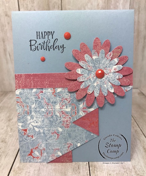 This is a different fun fold card. It is called a curtain fold and I created it with the Woven Threads designer paper. Details can be found on my blog here: https://wp.me/p59VWq-aMN #stampinup #incolor #thestampcamp #woventhread