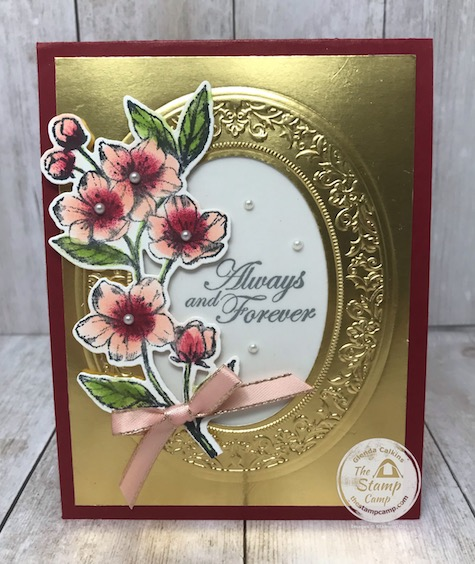 """This is my Gold Faux Frame with my featured stamp set for the month of March 2020 """"Forever Blossoms"""". Details are on my blog here: https://wp.me/p59VWq-aS3 . #stampinup #foreverblossoms #thestampcamp #wovenheirlooms"""