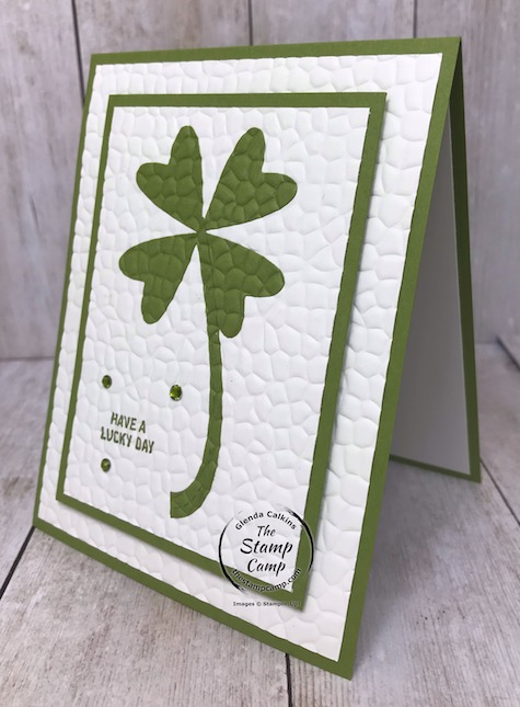 St. Patrick's Day is just around the corner; create this card with just a few items you probably already have on hand. Details are on my blog here: https://wp.me/p59VWq-aQ8 #punches, #dies, #embossing #thestampcamp #stampinup