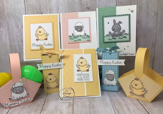 This whole grouping is all about the Welcome Easter stamp set from Stampin' Up! You can find all the details on my blog here: https://wp.me/p59VWq-aRs #stampinup #welcomeeaster #thestampcamp #easter