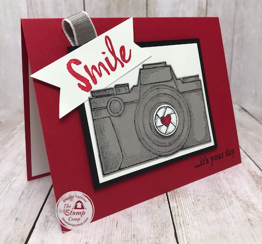 This is from the Capture the good stamp set from Stampin' Up! This is retiring May 31, 2020 so get it today! Details are on my blog here: https://wp.me/p59VWq-aX7 #stampinup #retired #thestampcamp #camera